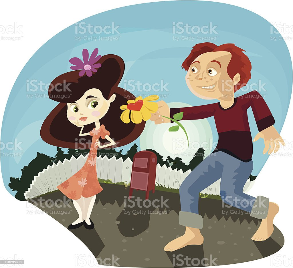 Boy Giving Girl a Flower/ First Love royalty-free stock vector art