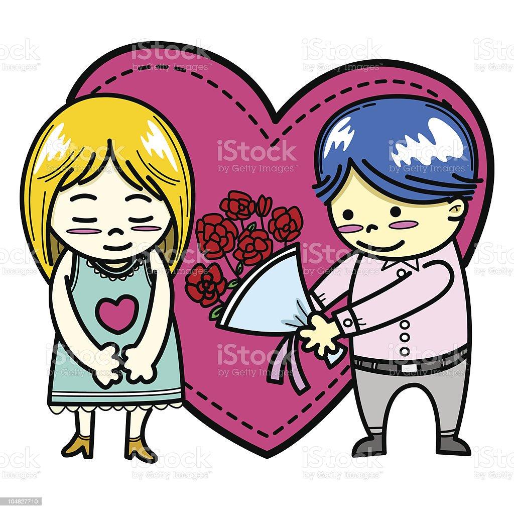 boy giving girl flowers vector art illustration