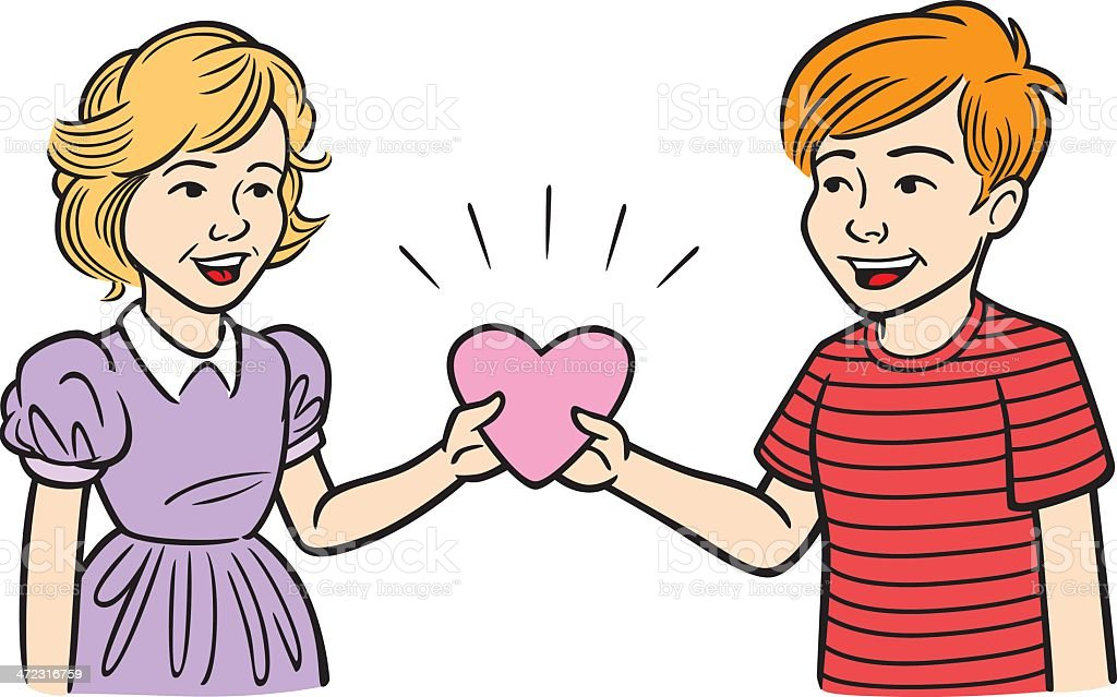 Boy Giving Girl Valentines Heart royalty-free stock vector art