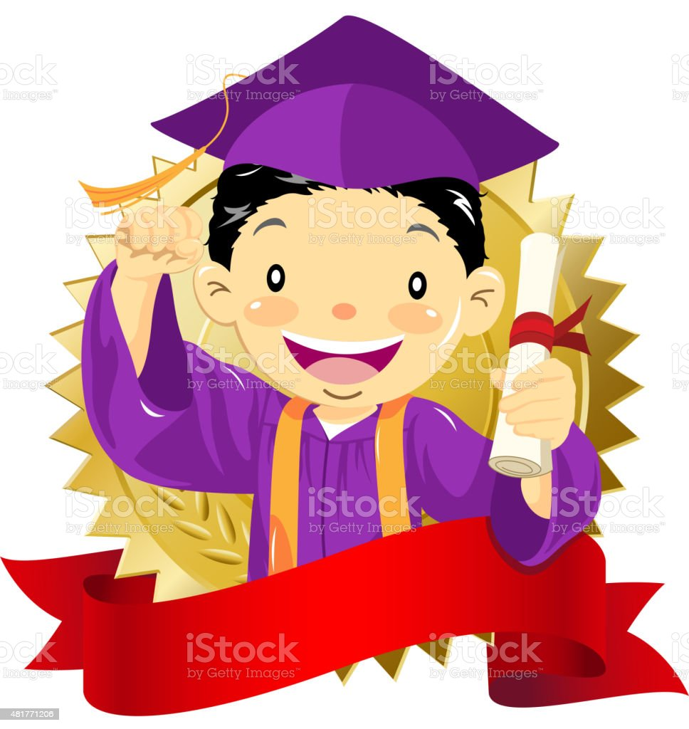 Boy graduate holding diploma vector art illustration