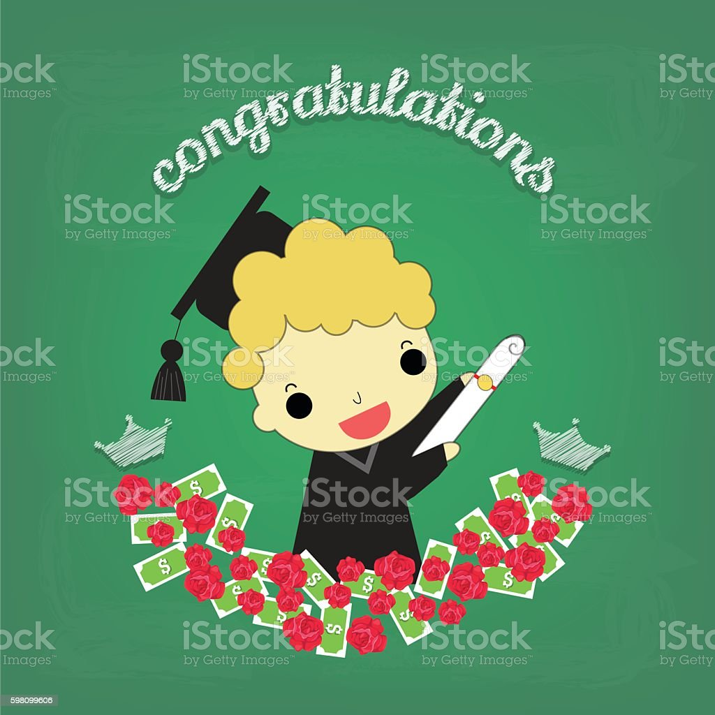 boy graduate with flower and money on board vector art illustration