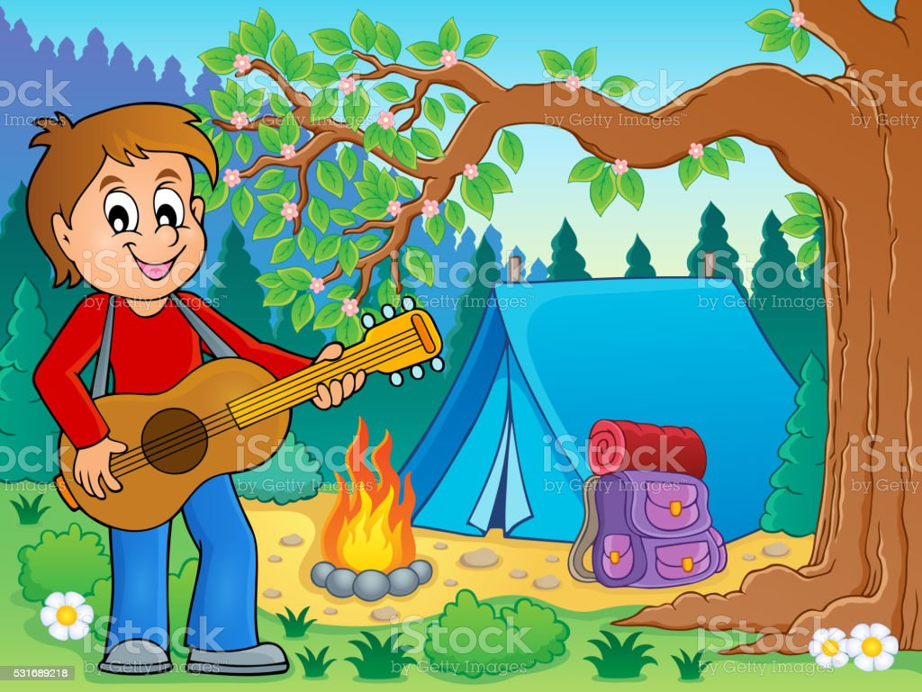 Boy guitar player in campsite theme 2 vector art illustration