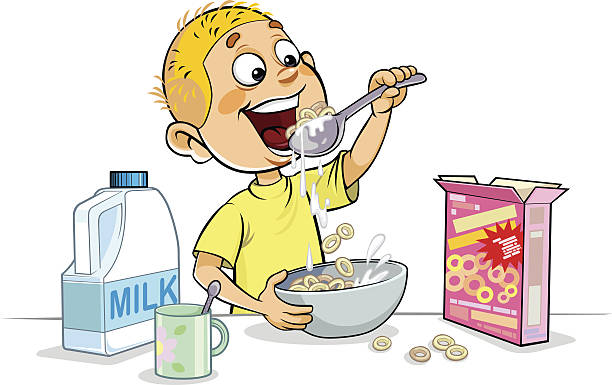 Child Eating Cereal Clip Art, Vector Images ...