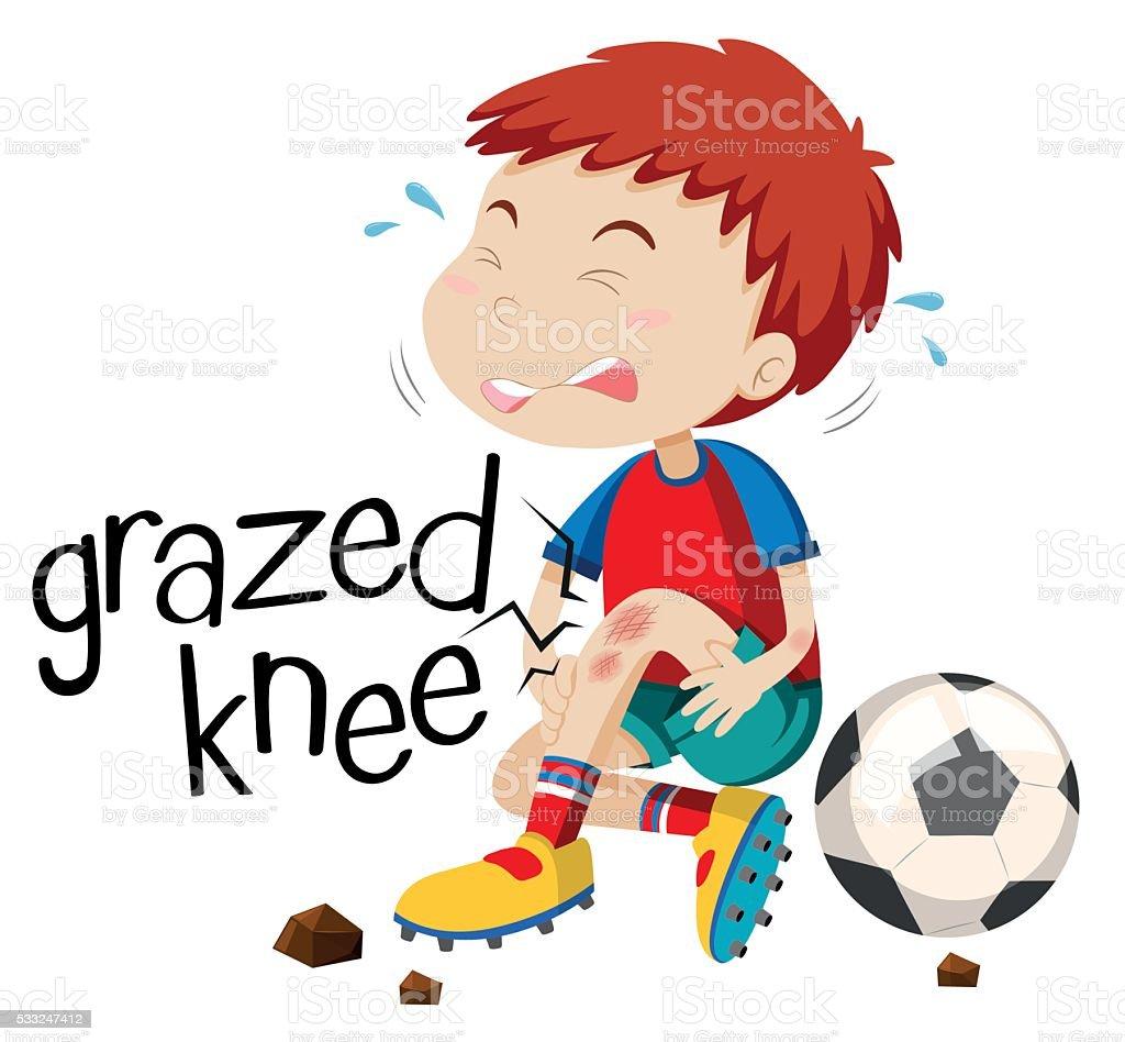 Boy having grazed knee vector art illustration