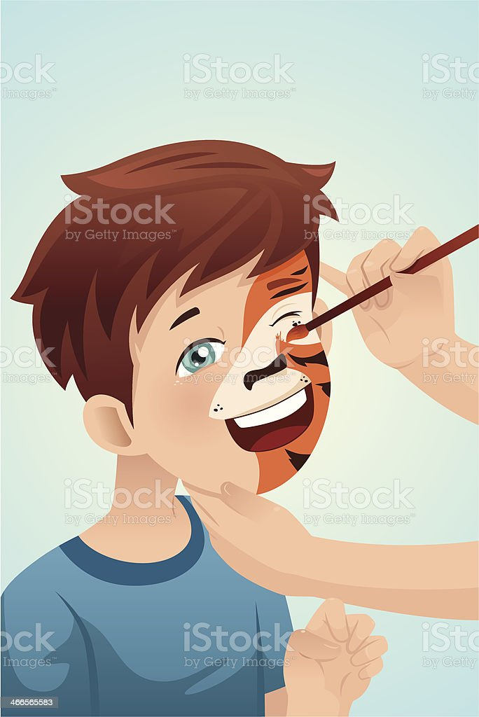 Boy having his face painted vector art illustration