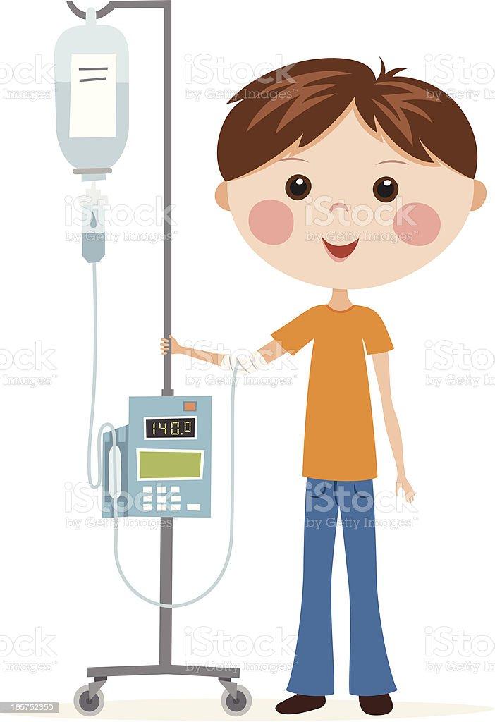 Boy having infusion vector art illustration