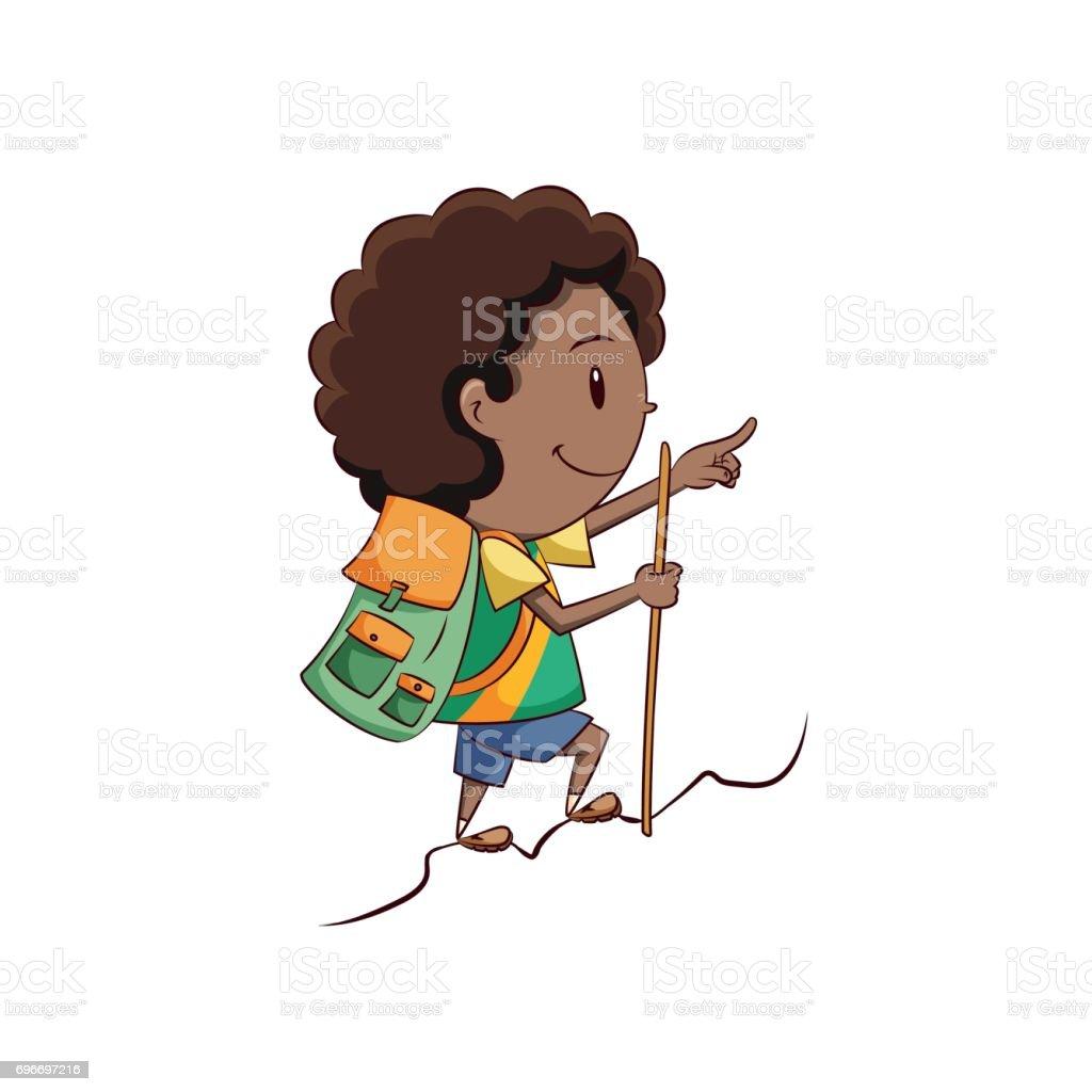 Boy hiking vector art illustration
