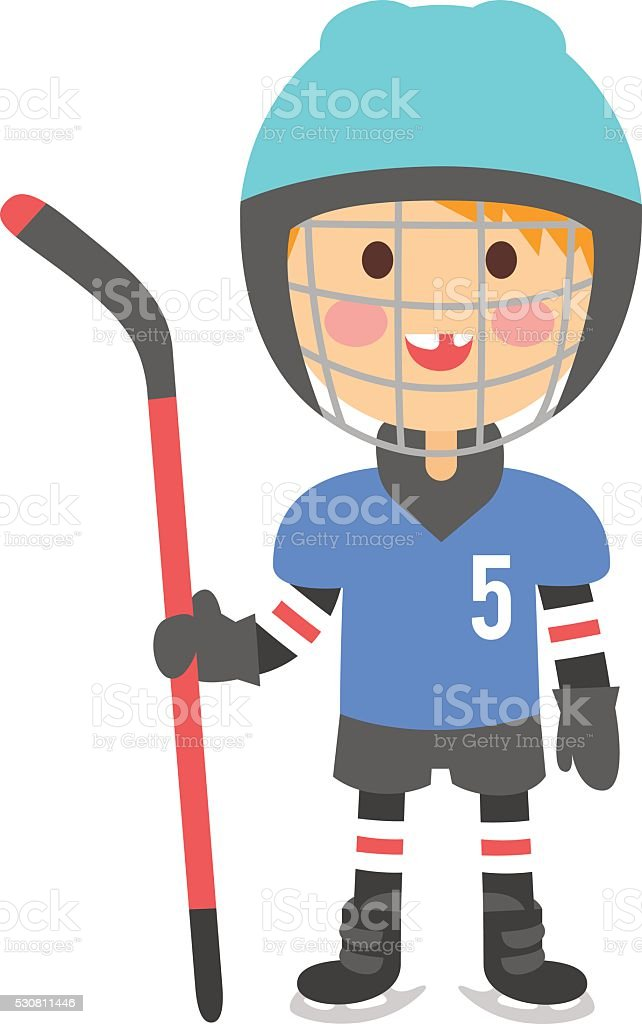 Boy hockey player vector illustration vector art illustration