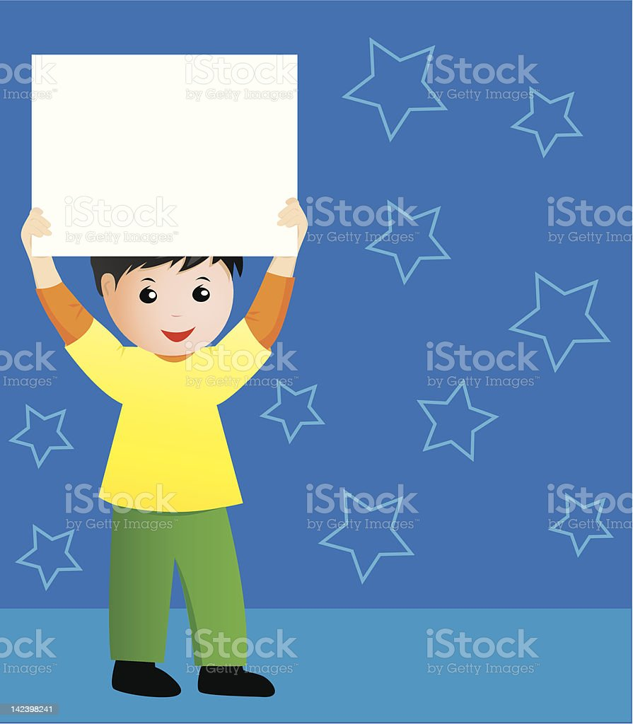 Boy holding a banner royalty-free stock vector art
