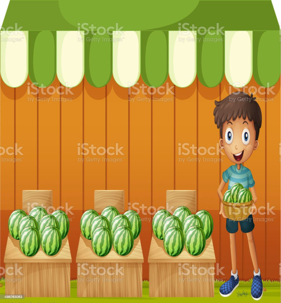 Boy holding a basket of watermelons royalty-free stock vector art