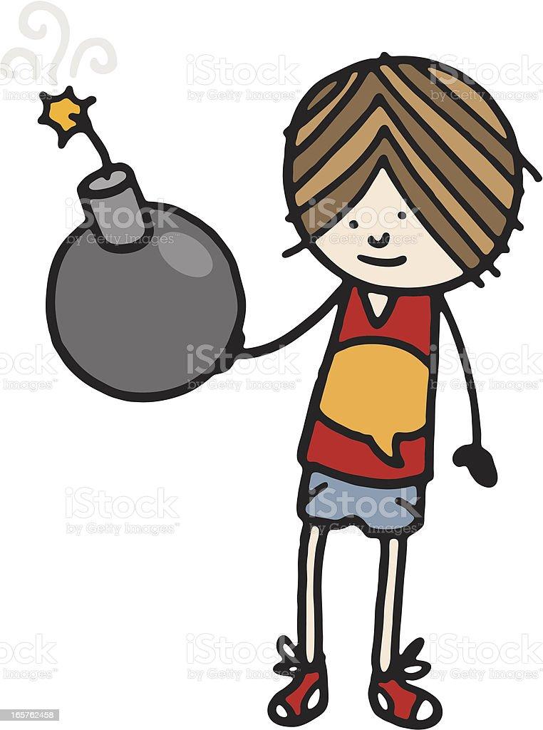 Boy holding a bomb vector art illustration
