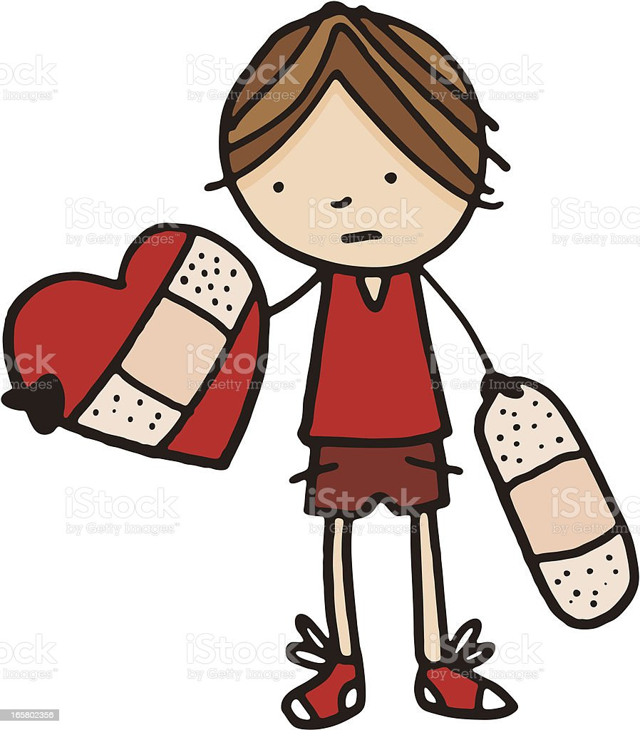 Boy holding a broken heart with bandaid vector art illustration