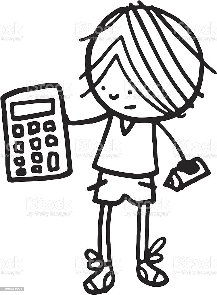 Boy holding a calculator with pencil royalty-free stock vector art