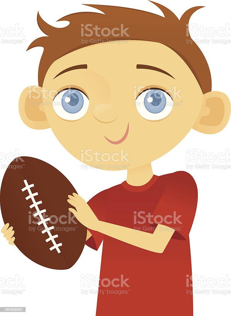 Boy Holding a Football vector art illustration