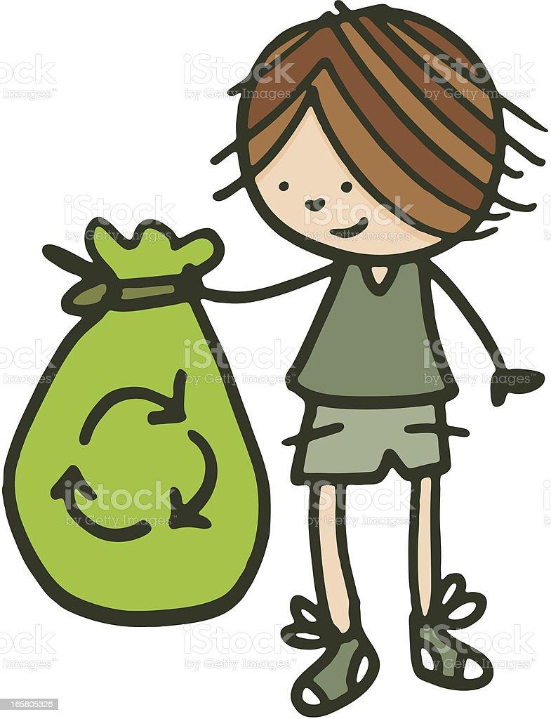 Boy holding a green bin bag vector art illustration