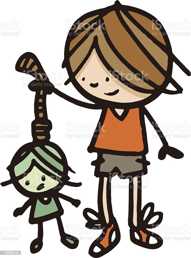 Boy holding a hanging doll vector art illustration