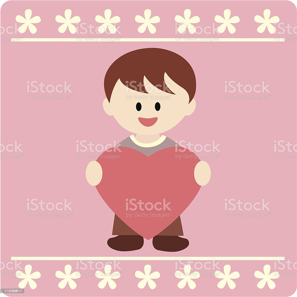 boy holding a heart for love royalty-free stock vector art