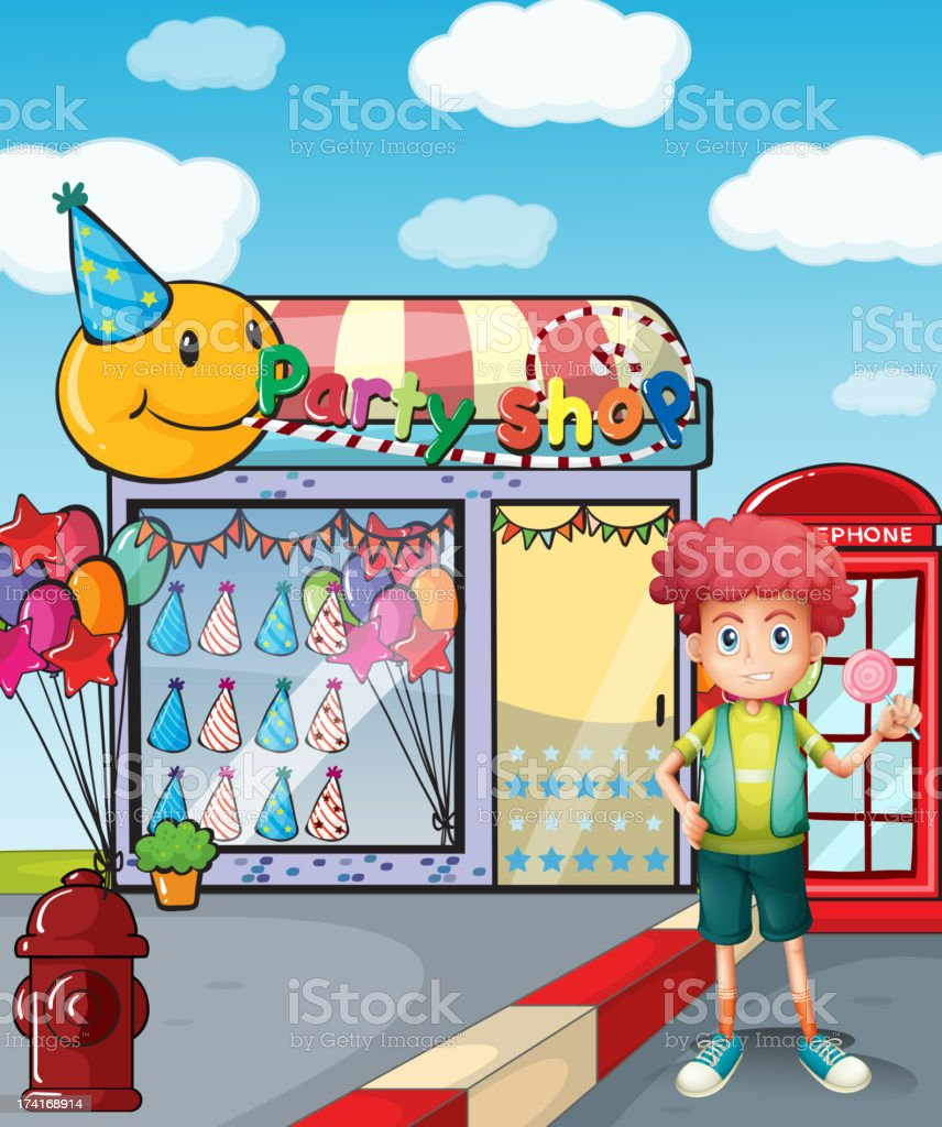 boy holding a lollipop outside the party shop royalty-free stock vector art