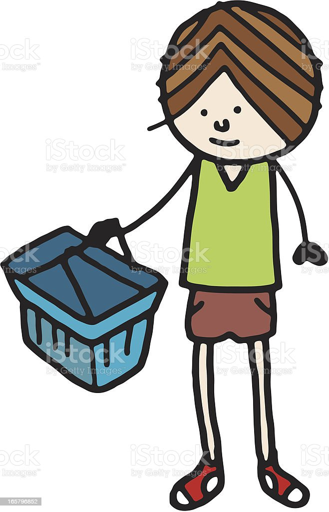 Boy holding a shopping basket royalty-free stock vector art