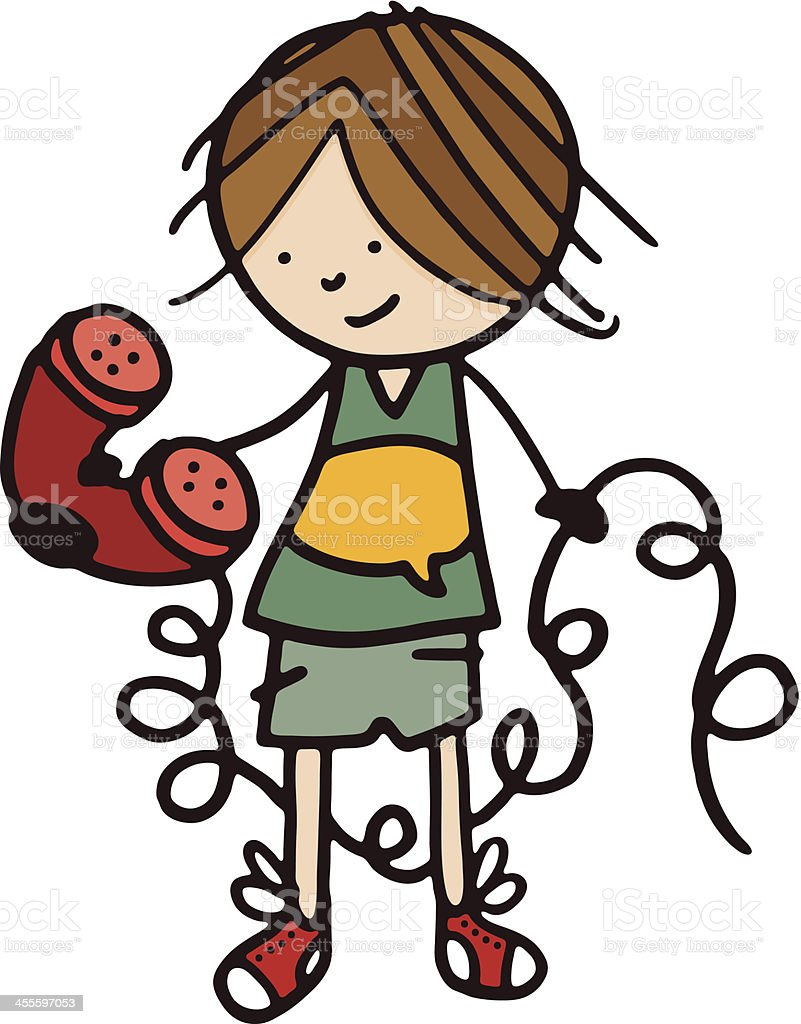 Boy holding a telephone with long curly cable vector art illustration