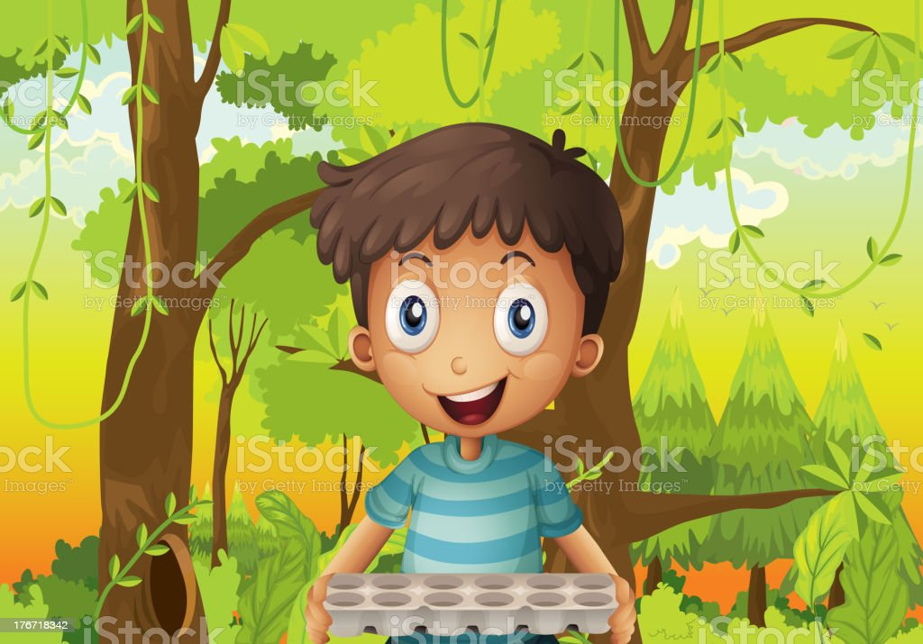 boy holding an empty eggtray in the forest royalty-free stock vector art