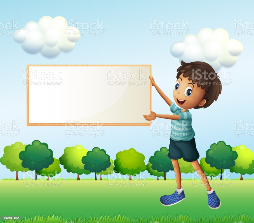 Boy holding an empty framed board royalty-free stock vector art