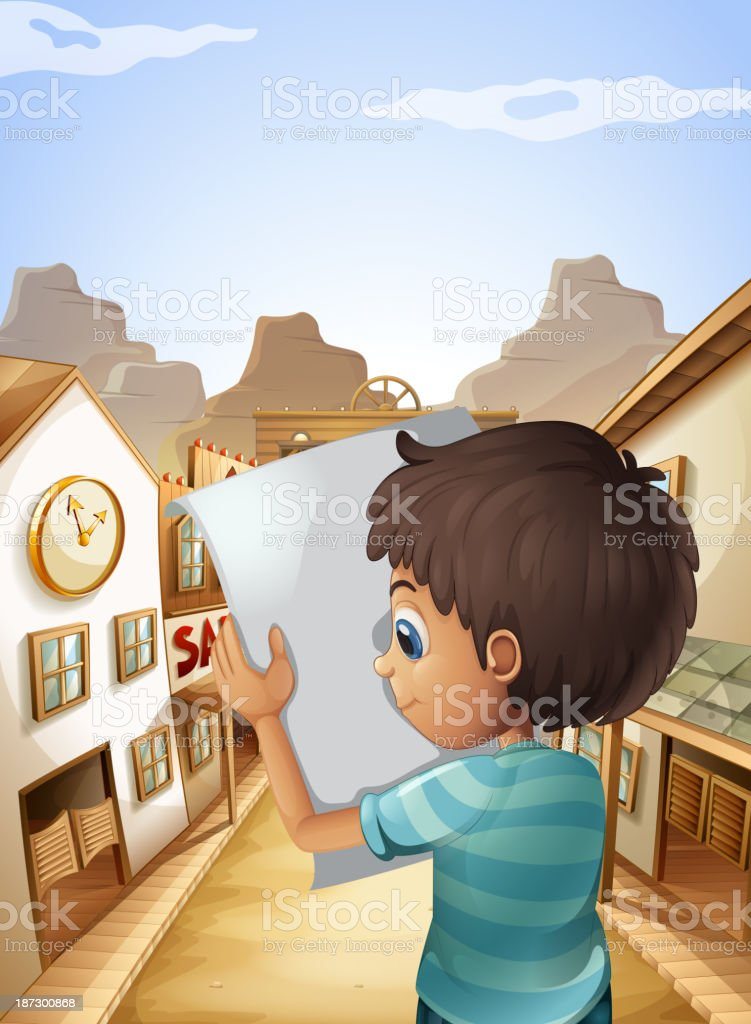boy holding an empty piece of paper royalty-free stock vector art