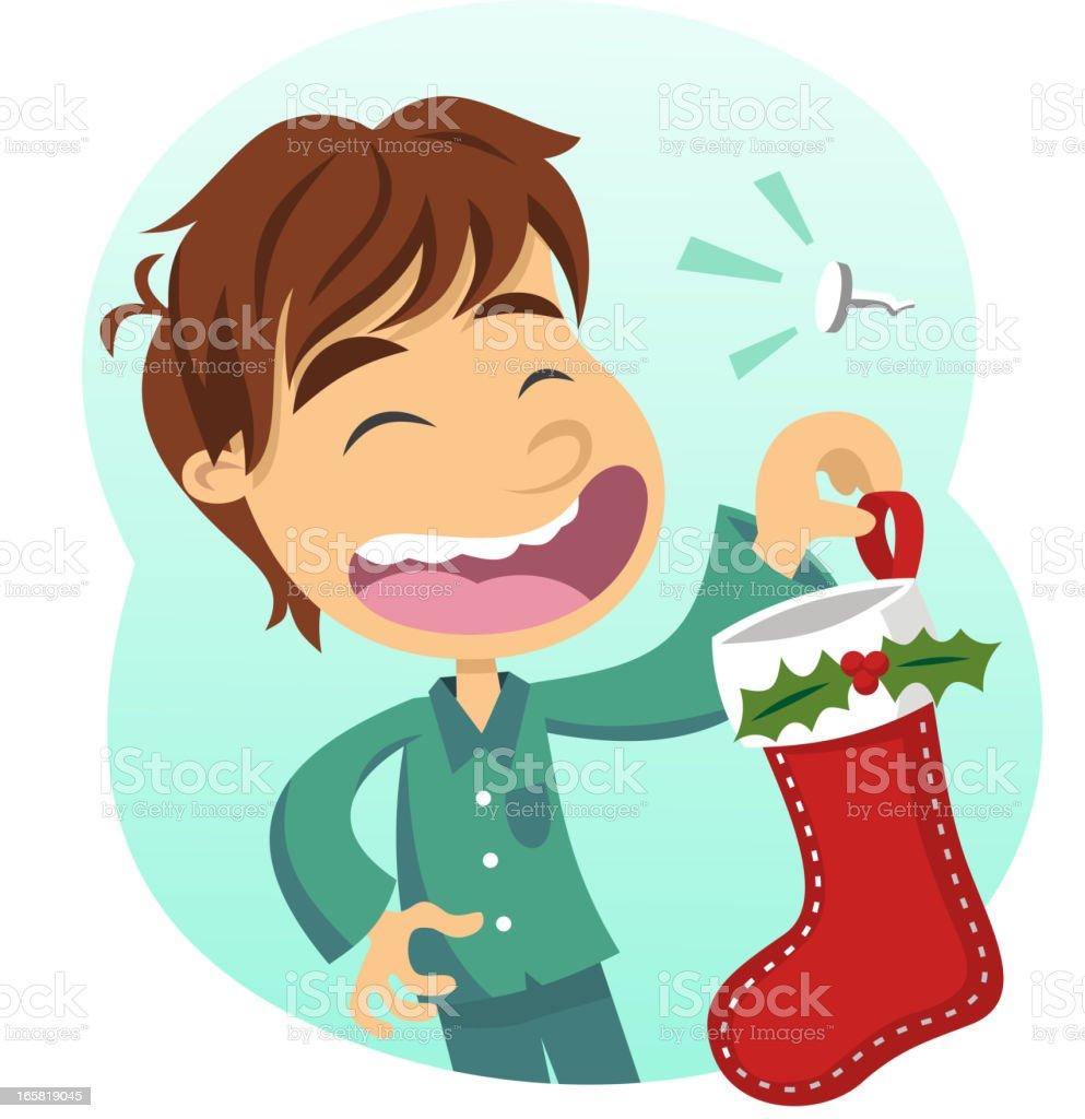 Boy holding Christmas Stocking Santa's Boot House Decoration Ornament royalty-free stock vector art