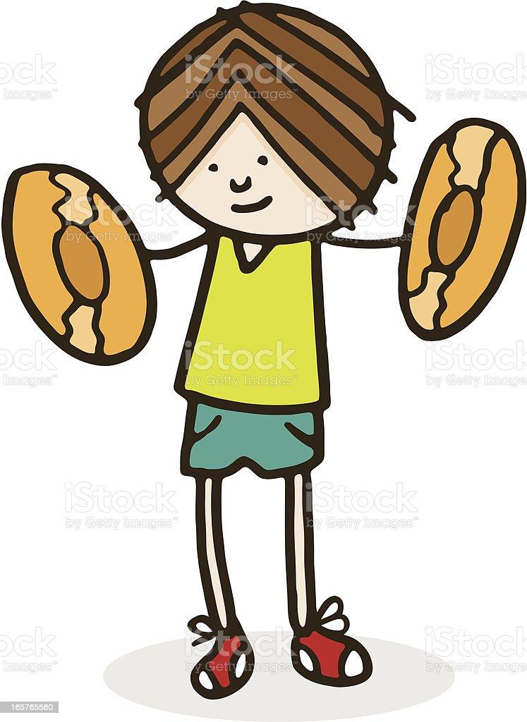 Boy holding cymbals vector art illustration