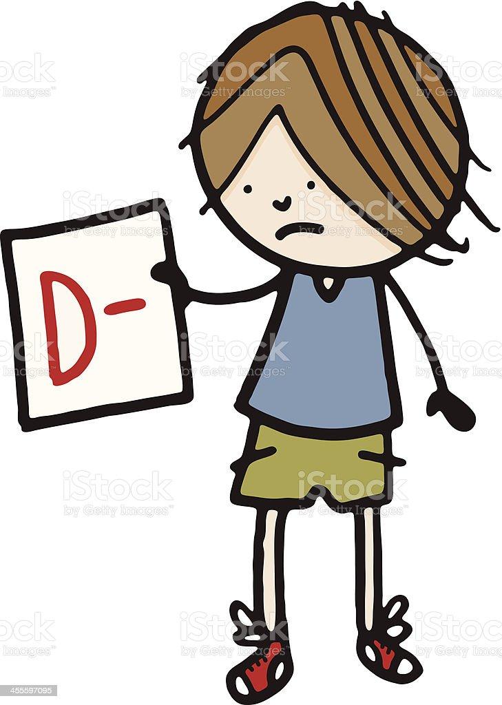 Boy holding D minus report card vector art illustration