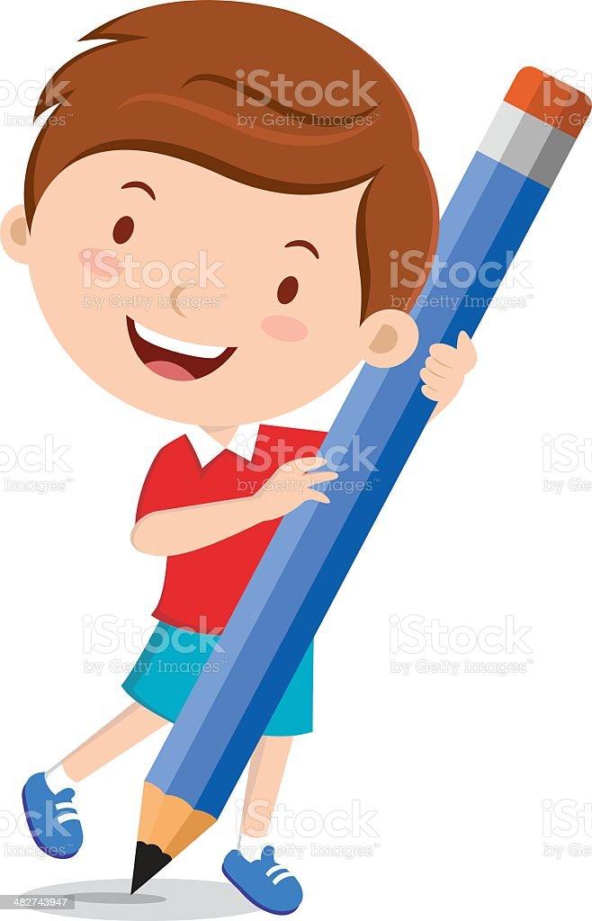 Boy holding pencil vector art illustration