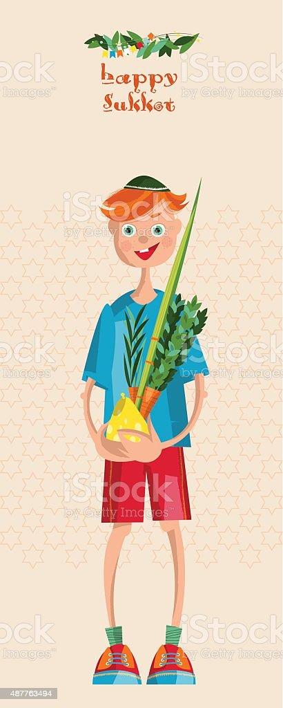 Boy holding ritual plants for Sukkot. Jewish holiday tradition. vector art illustration
