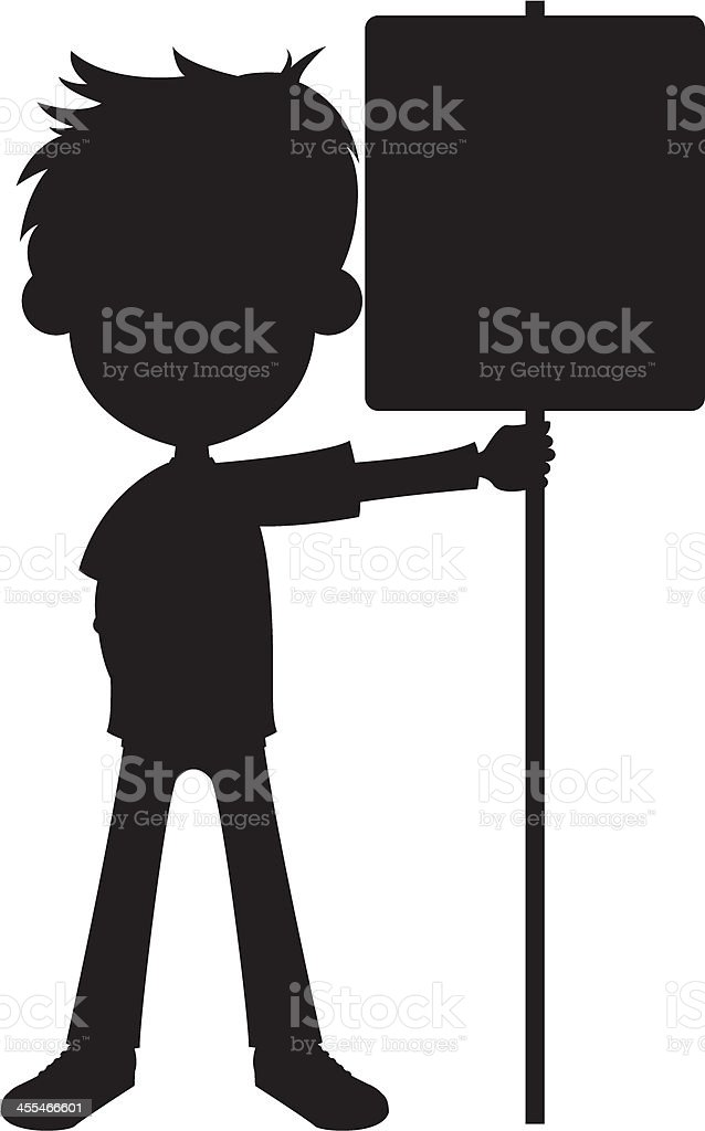 Boy Holding Sign in Silhouette royalty-free stock vector art