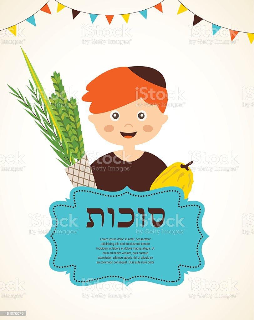 boy holding the Four species. sukkot in Hebrew vector art illustration