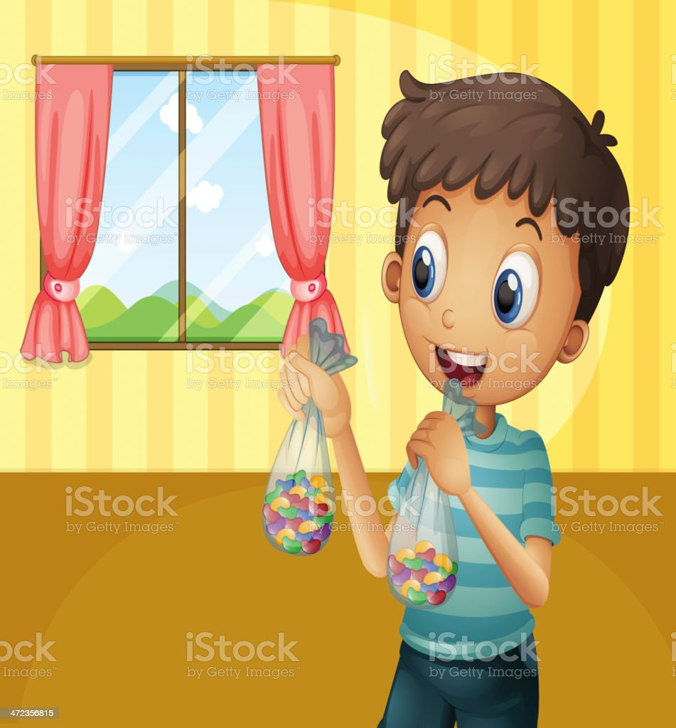 Boy holding two packs of bean candies royalty-free stock vector art