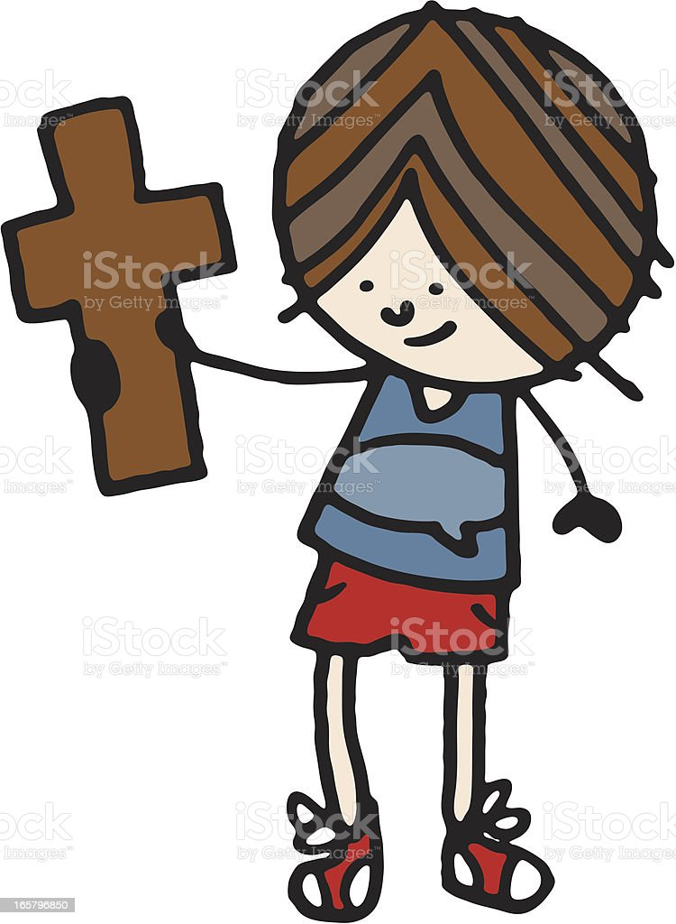 Boy holding up a cross royalty-free stock vector art