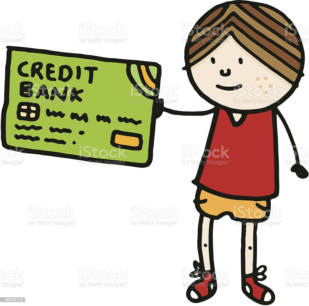 Boy holding up a large credit card royalty-free stock vector art