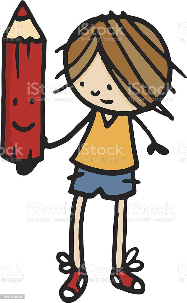 Boy holding up a large red pencil royalty-free stock vector art