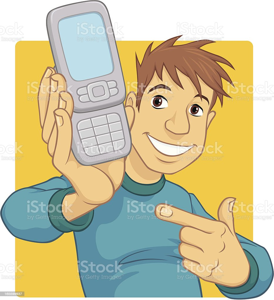 Boy Holds Mobile Phone royalty-free stock vector art