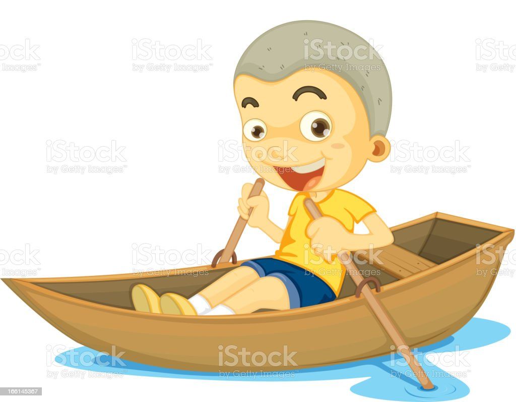 Boy in a boat vector art illustration