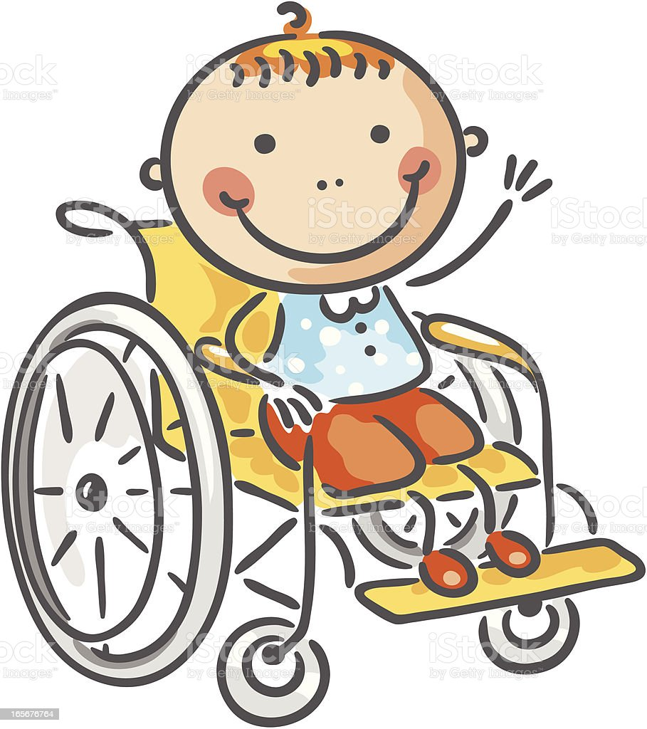 Boy in a wheelchair vector art illustration