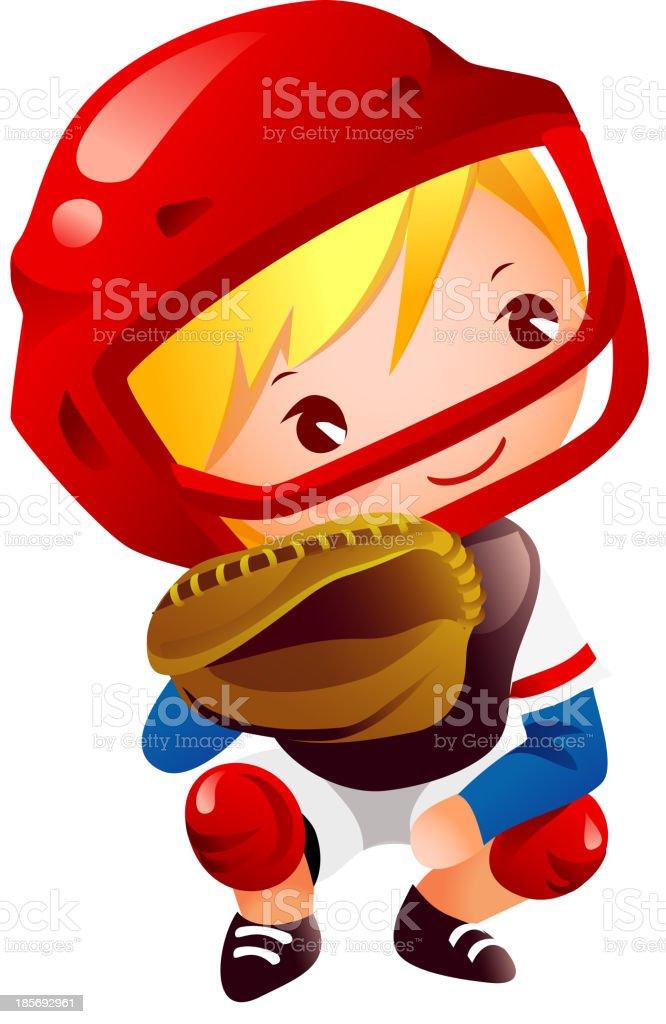 Boy in catcher position baseball royalty-free stock vector art