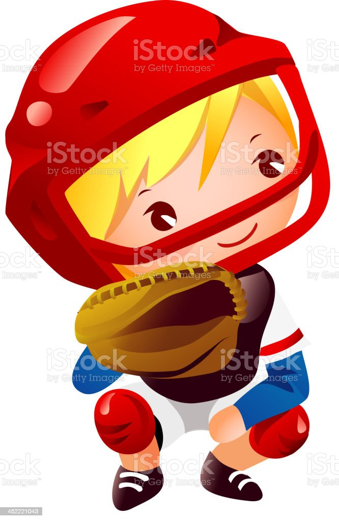 Boy in catcher position baseball royalty-free stock vector art
