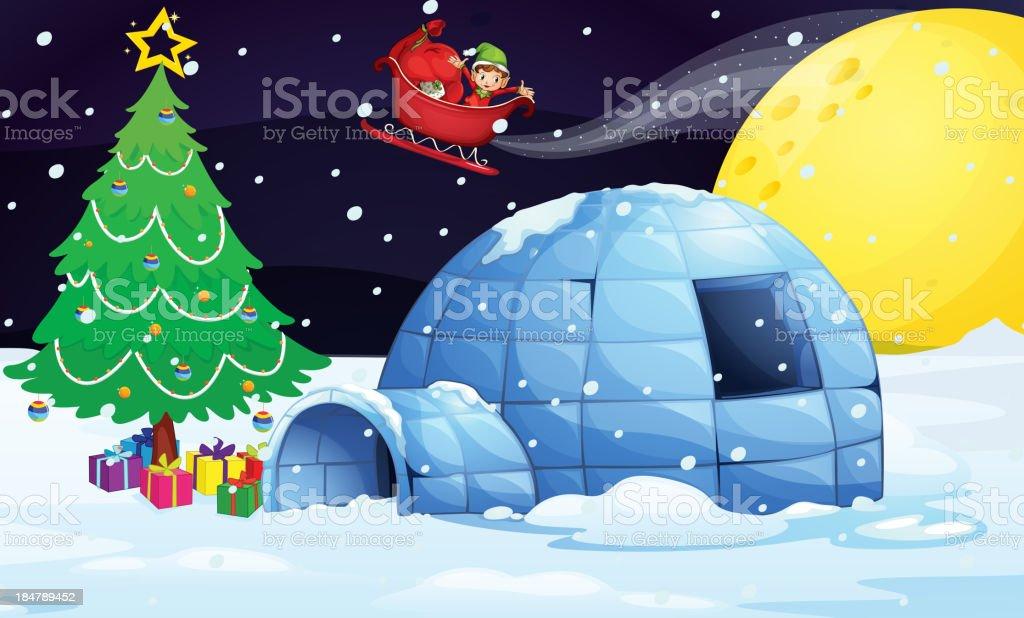 boy in flying sleigh vector art illustration