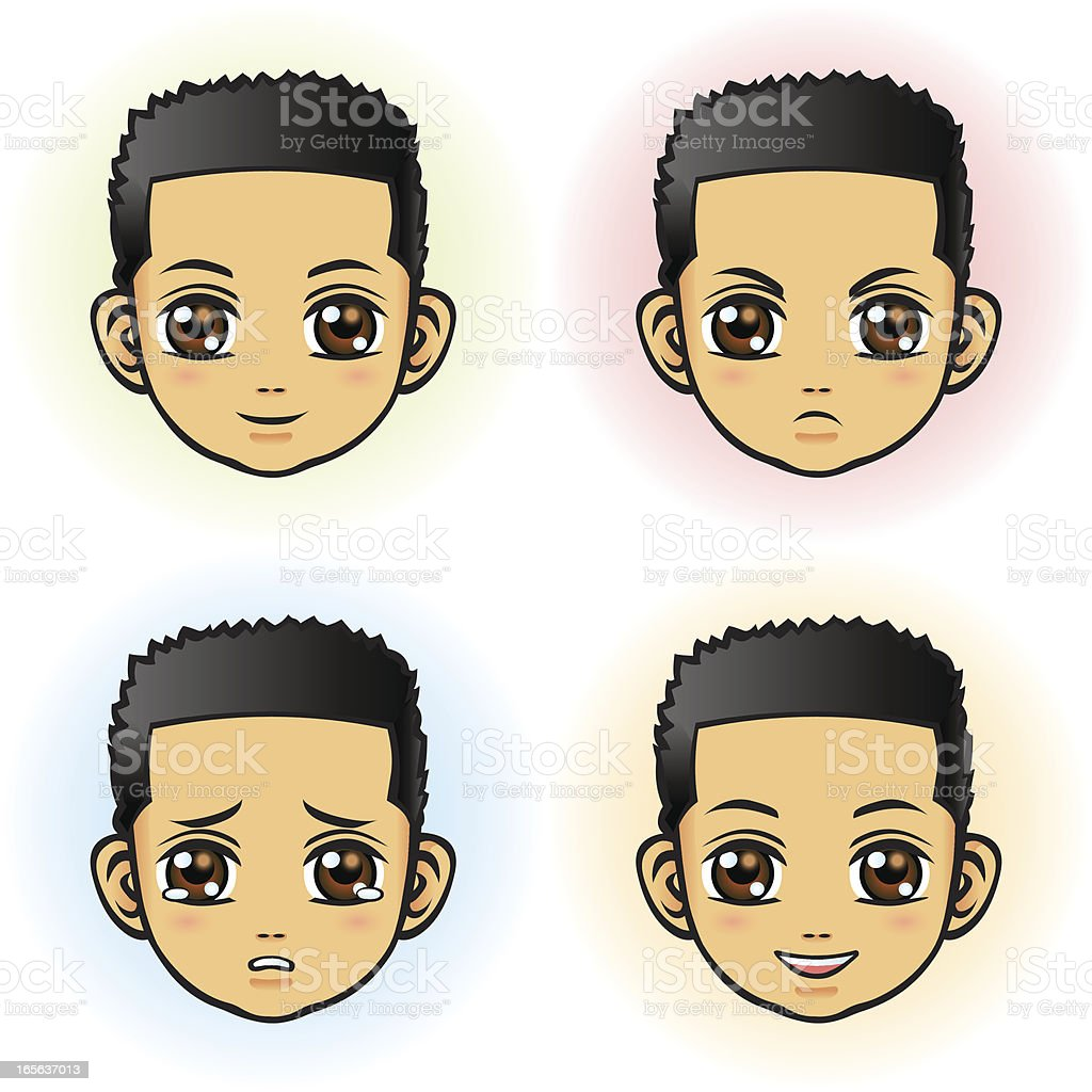 Boy in four facial expression (Asian) royalty-free stock vector art