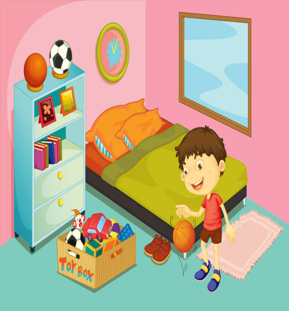 Boy In His Bedroom Vector Art Ilration