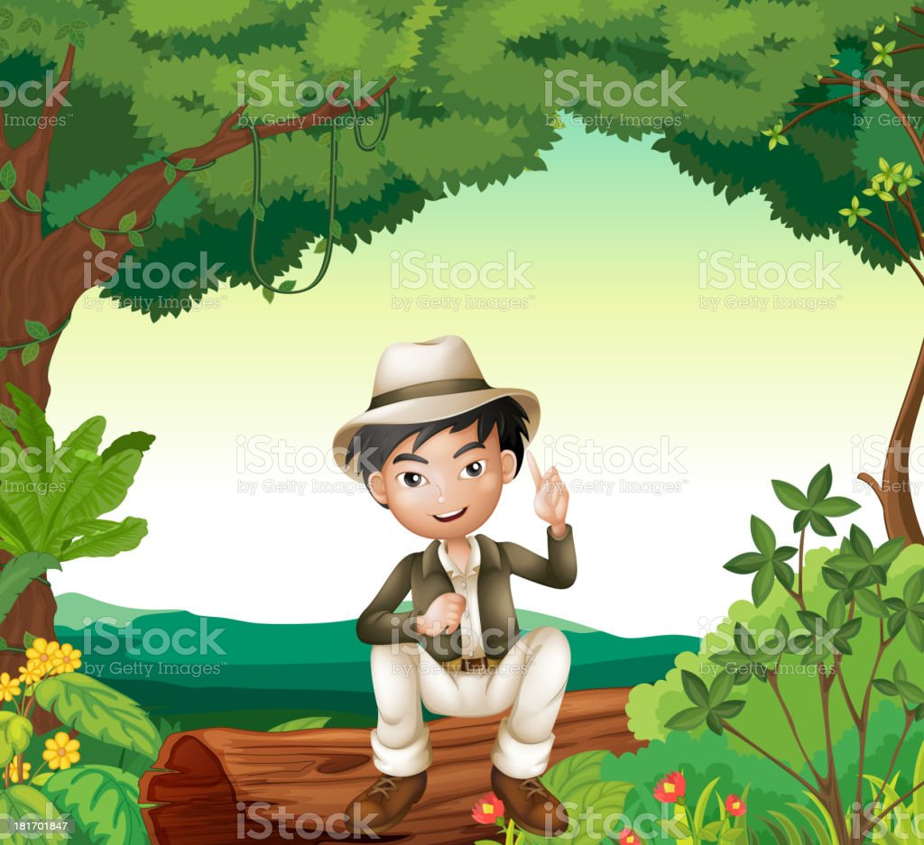 Boy in nature royalty-free stock vector art