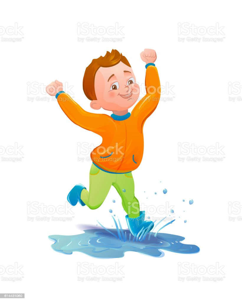 Boy in raincoat jumping and playing in the rain vector art illustration