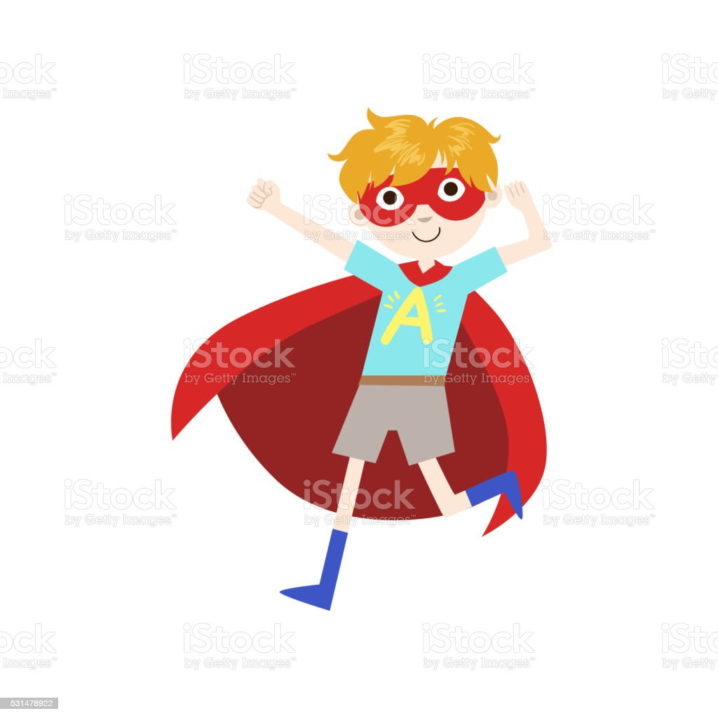 Boy In Superhero Costume With Red Cape vector art illustration