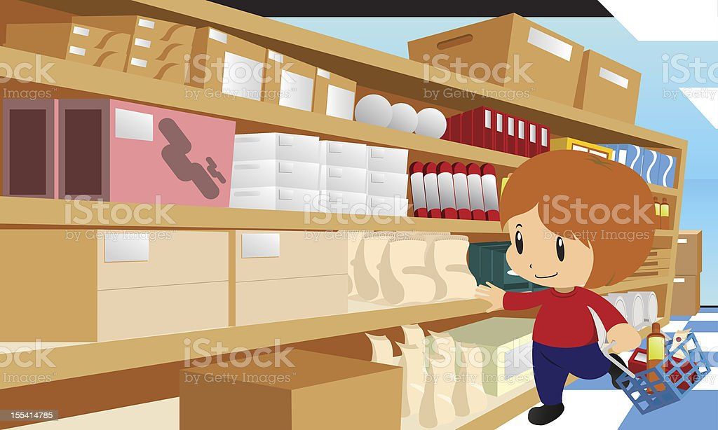 Boy in Supermarket royalty-free stock vector art